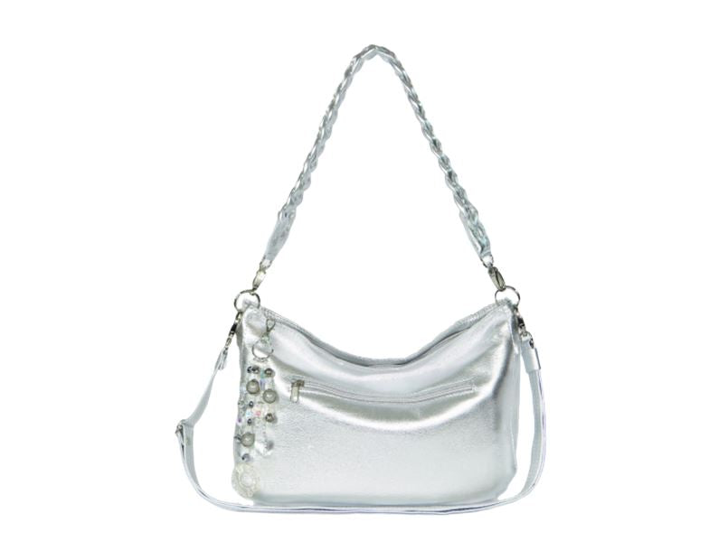 Metallic Silver Leather Slouchy Hobo