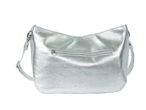 Metallic Silver Leather Slouchy Hobo backside zipper view