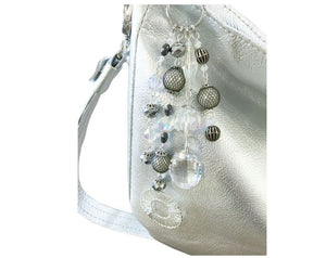 Metallic Silver Leather Slouchy Hobo bling keyring