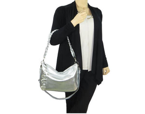 Metallic Silver Leather Slouchy Hobo model view