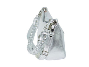 Metallic Silver Leather Slouchy Hobo side view