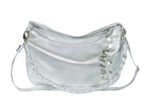 Metallic Silver Leather Slouchy Hobo slouch view
