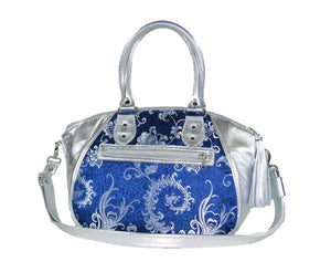 Metallic Silver Leather and Blue Brocade Satchel