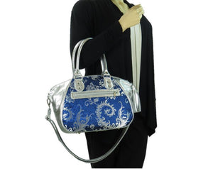 Metallic Silver Leather and Blue Brocade Satchel arm model