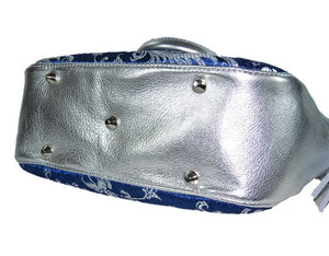 Metallic Silver Leather and Blue Brocade Satchel feet