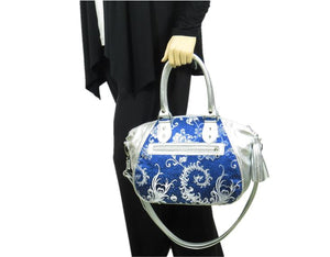 Metallic Silver Leather and Blue Brocade Satchel hand model