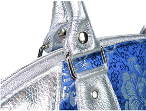 Metallic Silver Leather and Blue Brocade Satchel handle detail