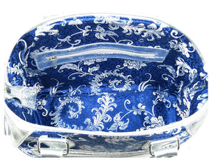 Metallic Silver Leather and Blue Brocade Satchel lining