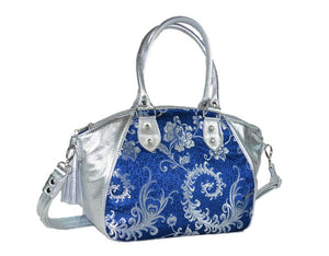 Metallic Silver Leather and Blue Brocade Satchel reverse side