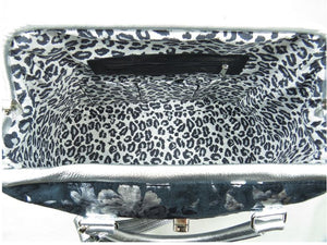 Metallic Silver Leather and Black Suede Weekender Carpet Bag interior