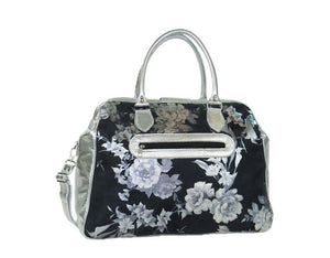 Metallic Silver Leather and Black Suede Weekender Carpet Bag reverse view