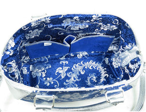 Metallic Silver Leather and Blue Brocade Satchel interior