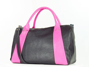 Millie's Pink and Black Satchel back view