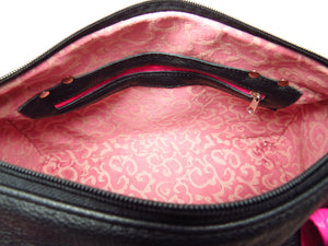 Millie's Pink and Black Satchel interior zipper pocket