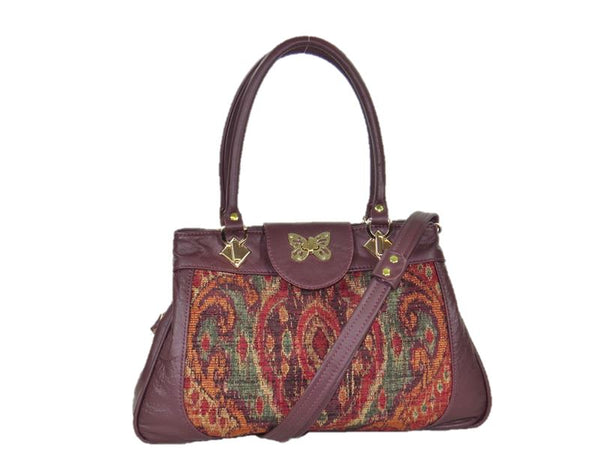 Moroccan Tapestry and Burgundy Leather Satchel