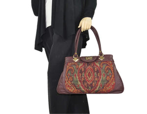 Moroccan Tapestry and Burgundy Leather Satchel model view