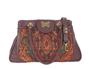 Moroccan Tapestry and Burgundy Leather Satchel relaxed handle view