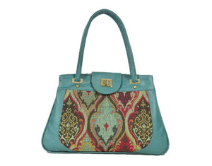 Moroccan Tapestry and Teal Leather Satchel