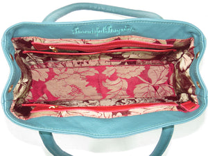 Moroccan Tapestry and Teal Leather Satchel interior view