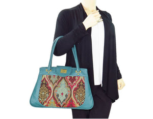 Moroccan Tapestry and Teal Leather Satchel model view