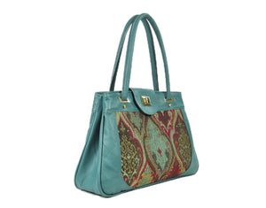 Moroccan Tapestry and Teal Leather Satchel side view