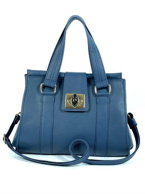 Natalie Blue Leather Satchel