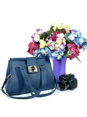 Natalie Blue Leather Satchel collage view