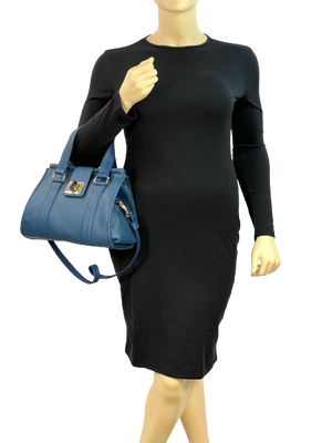 Natalie Blue Leather Satchel model view