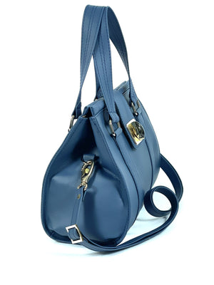 Natalie Blue Leather Satchel side view
