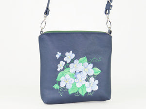 Navy Blue Leather Embroidered Forget-Me-Not Bouquet Crossbody Bag