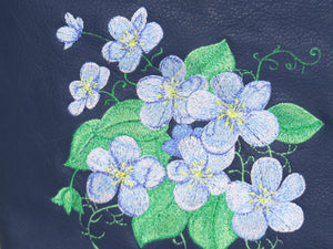 Navy Blue Leather Embroidered Forget-Me-Not Bouquet Crossbody Bag embroidery close-up