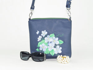 Navy Blue Leather Embroidered Forget-Me-Not Bouquet Crossbody Bag vignette
