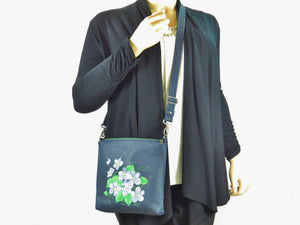 Navy Blue Leather Embroidered Forget-Me-Not Bouquet Crossbody Bag with model