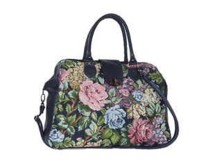 Navy Blue Leather and Rose Tapestry Mary Poppins Carpet Bag