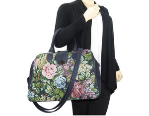 Navy Blue Leather and Rose Tapestry Mary Poppins Carpet Bag arm model