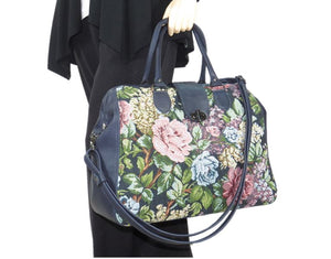 Navy Blue Leather and Rose Tapestry Mary Poppins Carpet Bag hand model