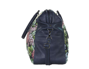 Navy Blue Leather and Rose Tapestry Mary Poppins Carpet Bag side view