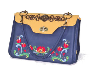 Norwegian Embroidered Rosemaling Blue and Yellow Leather Handbag