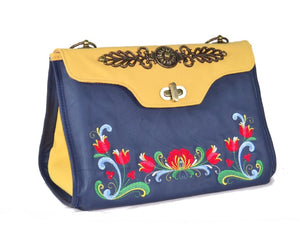 Norwegian Embroidered Rosemaling Blue and Yellow Leather Handbag front