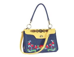 Norwegian Embroidered Rosemaling Blue and Yellow Leather Handbag handle up