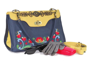 Norwegian Embroidered Rosemaling Blue and Yellow Leather Handbag vignette