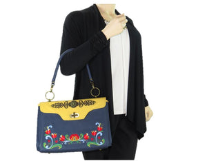 Norwegian Embroidered Rosemaling Blue and Yellow Leather Satchel model view