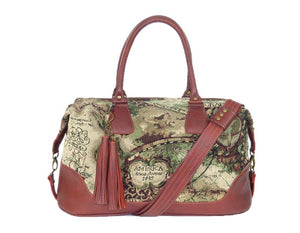 Old World Map Tapestry and Leather Weekender