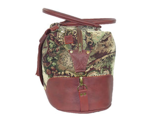 Old World Map Tapestry and Leather Weekender side view