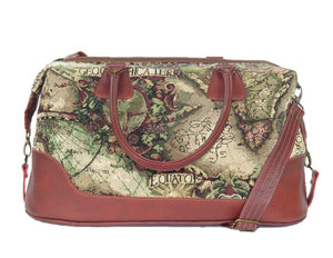 Old World Map Tapestry and Leather Weekender view 2