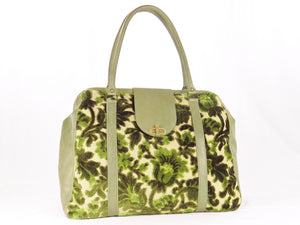 Olive Green Cut Velvet Vintage Style Carpet Bag