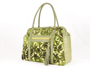 Olive Green Cut Velvet Vintage Style Carpet Bag back side