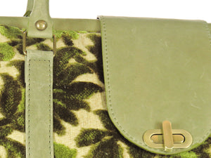 Olive Green Cut Velvet Vintage Style Carpet Bag details