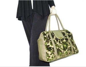 Olive Green Cut Velvet Vintage Style Carpet Bag model