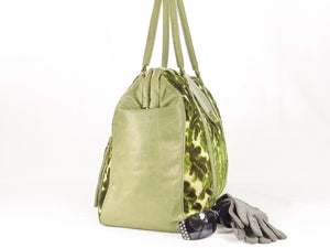 Olive Green Cut Velvet Vintage Style Carpet Bag side view
